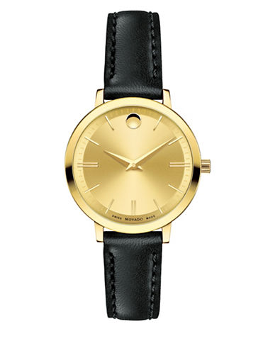 Movado Ultra Slim Goldtone Stainless Steel Black Leather Watch-BLACK-One Size