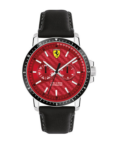 Ferrari Multi-Function Leather Strap Turbo Watch-RED-One Size