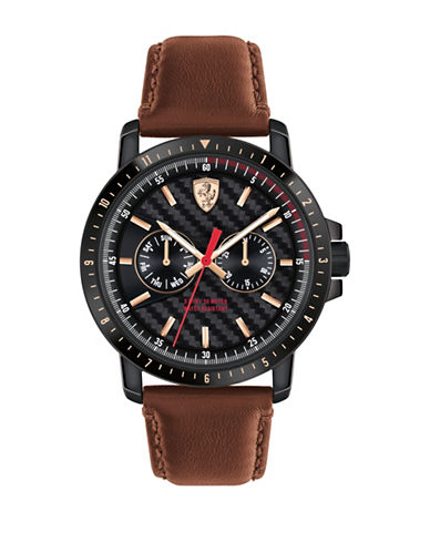 Ferrari Multi-Function Leather Strap Turbo Watch-BLACK-One Size