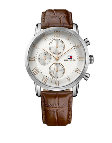 Tommy Hilfiger Kane Croc-Embossed Leather Watch-WHITE-One Size