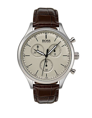 Boss Companion Chronograph Stainless Steel Leather Strap Watch-BROWN-One Size