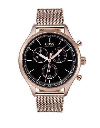 Boss Companion Chronograph Carnation Gold IP Mesh Bracelet Watch-BLACK-One Size