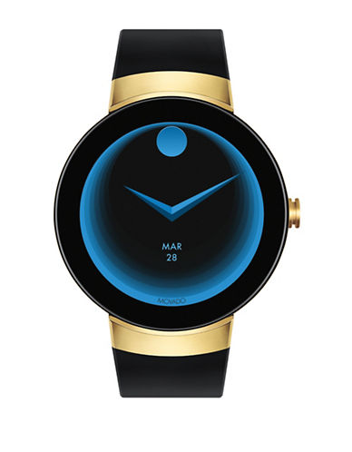 Movado Bold Connect Smartwatch Powered by Android Wear Goldtone Ion-Plated Stainless Steel Silicone Strap-BLACK-One Size