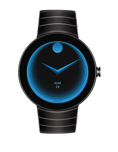 Movado Bold Connect Smartwatch Powered by Android Wear Black Ion-Plated Stainless Steel Bracelet-BLACK-One Size