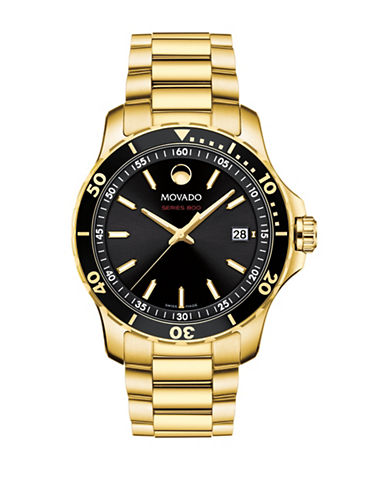 Movado Movement Series Yellow Gold PVD Stainless Steel Link Bracelet Watch-BLACK-One Size