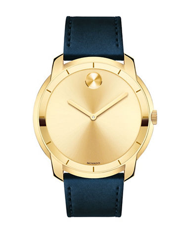 Movado Bold Bold Goldtone Stainless Steel Leather Strap Watch-GOLD-One Size