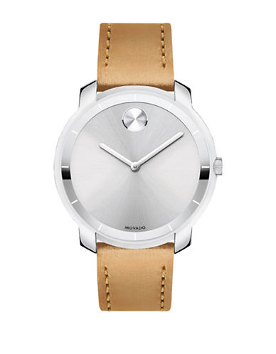 Movado Bold Bold Stainless Steel Leather Strap Watch-SILVER-One Size