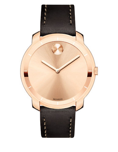 Movado Bold Bold Rose Goldtone Stainless Steel Leather Strap Watch-ROSE GOLD-One Size