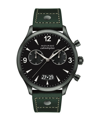 Movado Heritage Series Calendoplan Gunmetal IP Stainless Steel Leather Strap Watch-BLACK-One Size