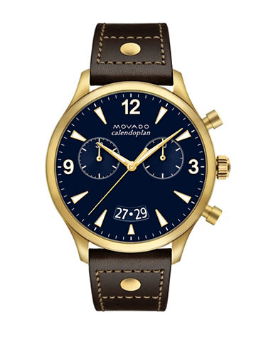 Movado Heritage Calendoplan Navy Chronograph Leather Strap Watch-GOLD-One Size