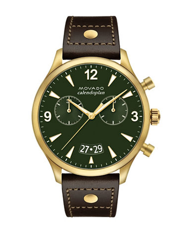 Movado Heritage Calendoplan Green Chronograph Leather Strap Watch-GREEN-One Size