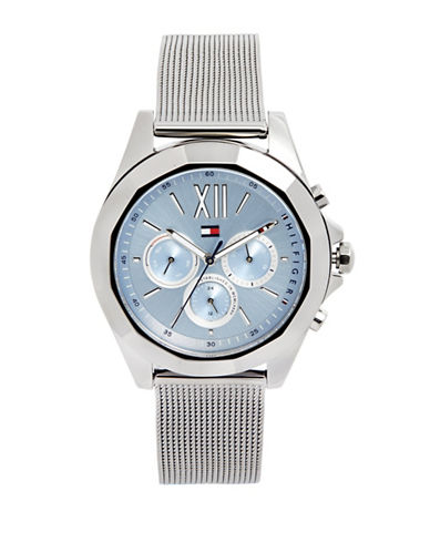Tommy Hilfiger Gunmetal-Tone Chronograph Mesh Bracelet Watch-BLUE-One Size