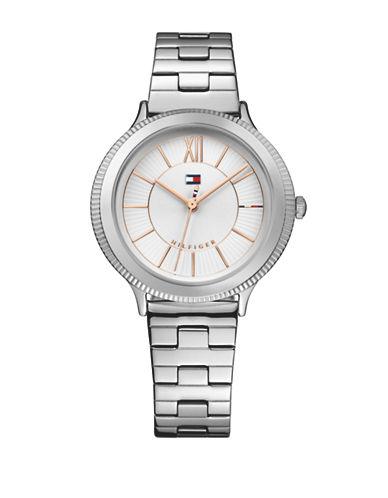 Tommy Hilfiger Silvertone Stainless Steel Analog Link Bracelet Watch-SILVER-One Size