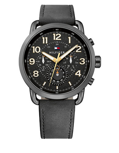 Tommy Hilfiger Briggs Multi Gun Metaltone Leather Watch-BLACK-One Size