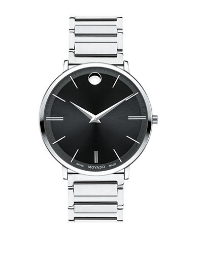 Movado Ultra Slim Stainless Steel Link Bracelet Watch-SILVER-One Size