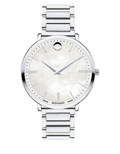 Movado Ultra Slim Mother-of-Pearl Stainless Steel Link Bracelet Watch-SILVER-One Size