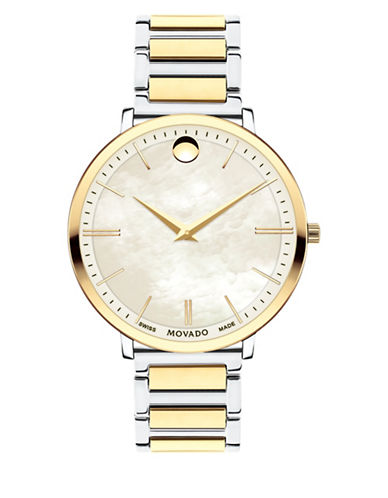 Movado Ultra Slim Mother-of-Pearl Two-Tone Stainless Steel Link Bracelet Watch-MULTI-One Size