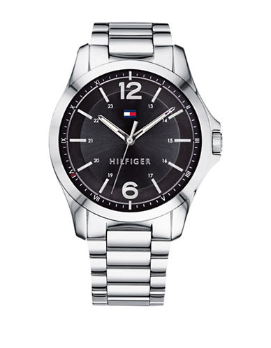 Tommy Hilfiger Stainless Steel Black Dial Analog Link Bracelet Watch-BLACK-One Size