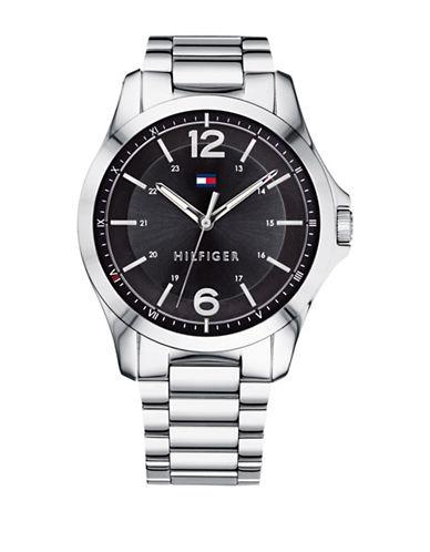 Tommy Hilfiger Stainless Steel Black Dial Analog Link Bracelet Watch-BLACK-One Size