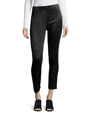 Ruby Rd Pull-On Slim Suedette Pants-BLACK-Small 88629443_BLACK_Small