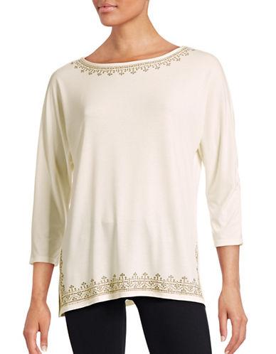 Ruby Rd Embellished Neck Top-WHITE-Medium 88629500_WHITE_Medium