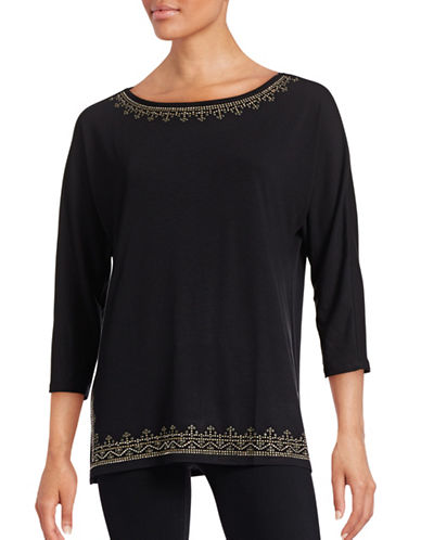 Ruby Rd Embellished Neck Top-BLACK-Small 88629492_BLACK_Small