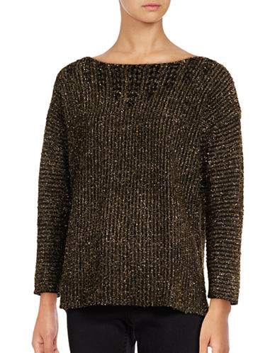 Ruby Rd Beaded Metallic Eyelash Sweater-BLACK-Small