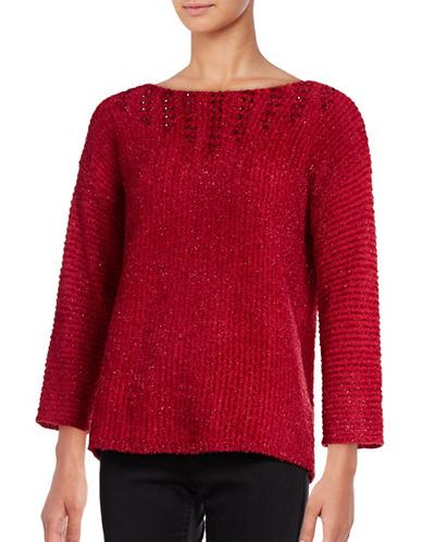 Ruby Rd Beaded Metallic Eyelash Sweater-RED-Medium