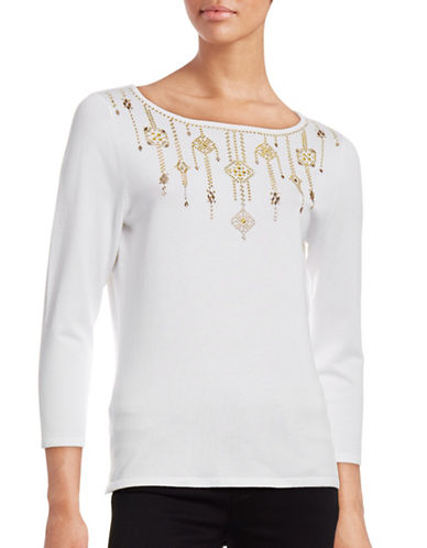 Ruby Rd Studded Boat Neck Knit Top-WHITE-X-Large 88712152_WHITE_X-Large