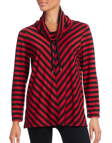 Ruby Rd Striped Funnel Neck Top-PINK-Medium 88639911_PINK_Medium