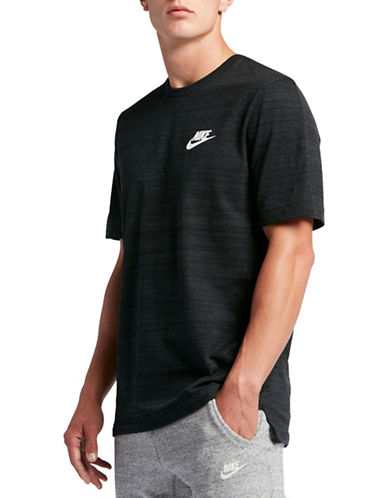 Nike Sportswear Advance Heathered Tee-BLACK/WHITE-Small