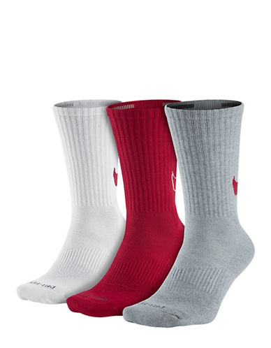 Nike Three-Pack Dri-FIT Cotton Swoosh HBR Crew Socks-RED-Medium 88265792_RED_Medium