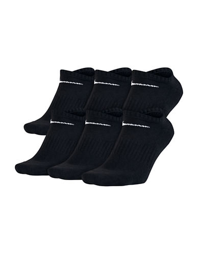Nike Six Pack Ribbed Socks-BLACK-Large