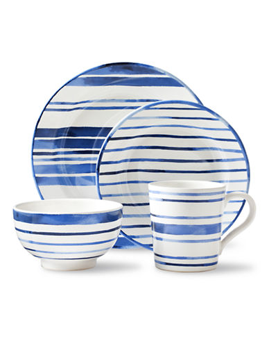 Ralph Lauren Cote d Azur Striped 4-Piece Dinnerware Set-BLUE-One Size