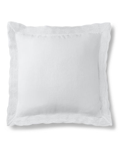 Ralph Lauren Indigo Montauk Embroidered Decorative Pillow-WHITE-One Size