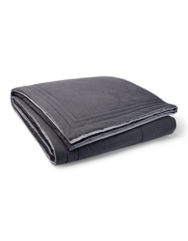 Ralph Lauren Gray Haberdashery Quilted Twin Coverlet-DARK GRAY-King