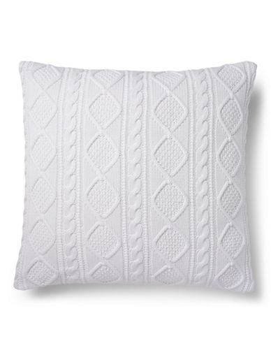 Ralph Lauren Judson Cable Knit Cushion-WHITE-20x20