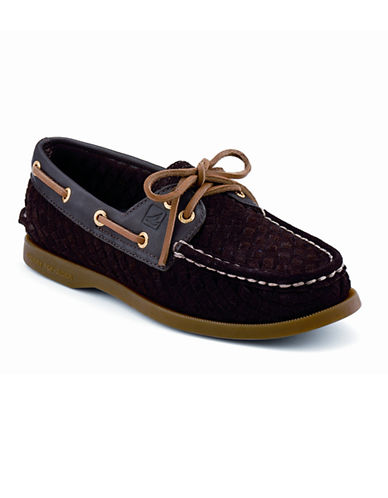 SPERRY TOPSIDER A/O 2Eye Woven brown suede Size 9