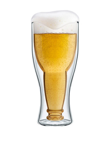 Final Touch Bottomsup Beer Glass-CLEAR-One Size