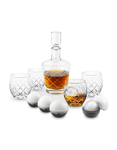 Final Touch 10-Piece Etched Whisky Decanter Set-CLEAR-One Size