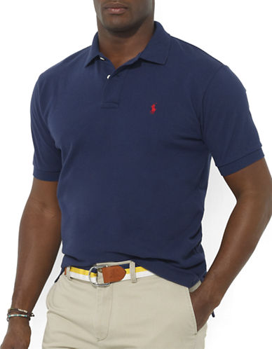 Polo Ralph Lauren Big and Tall Classic-Fit Short-Sleeved Cotton Mesh Polo-NEWPORT NAVY-Large Tall