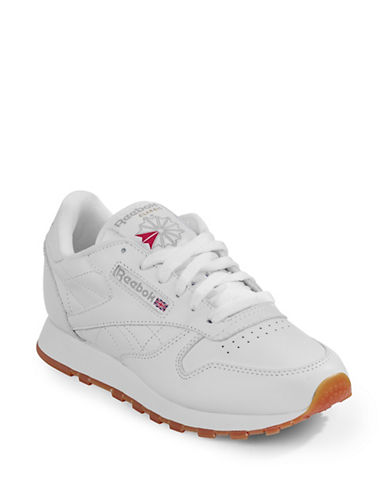 Reebok Womens Classic Leather Sneakers-WHITE-7.5
