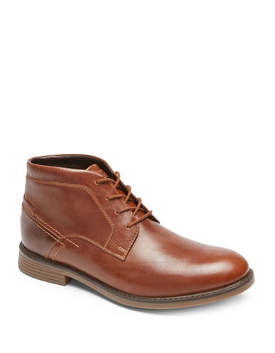 Rockport Round Toe Leather Chukka Boots-BROWN-8.5