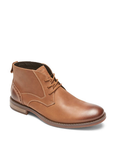 Rockport Wynstin Round Toe Leather Chukka Boots-BROWN-9.5