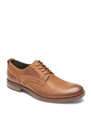 Rockport Wynstin Almond Toe Leather Derbys-BROWN-10