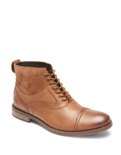 Rockport Wynstin Cap Toe Leather Chukka Boots-BROWN-10.5