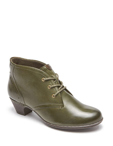 Rockport Cobb Hill Aria Leather Booties-EVERGREEN-6.5