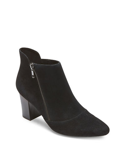 Rockport Gail Zip Suede Booties-BLACK-9.5