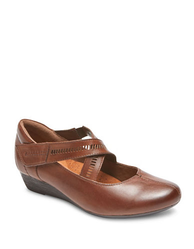 Rockport Cobb Hill Janet Casual Wedges-BROWN-7.5