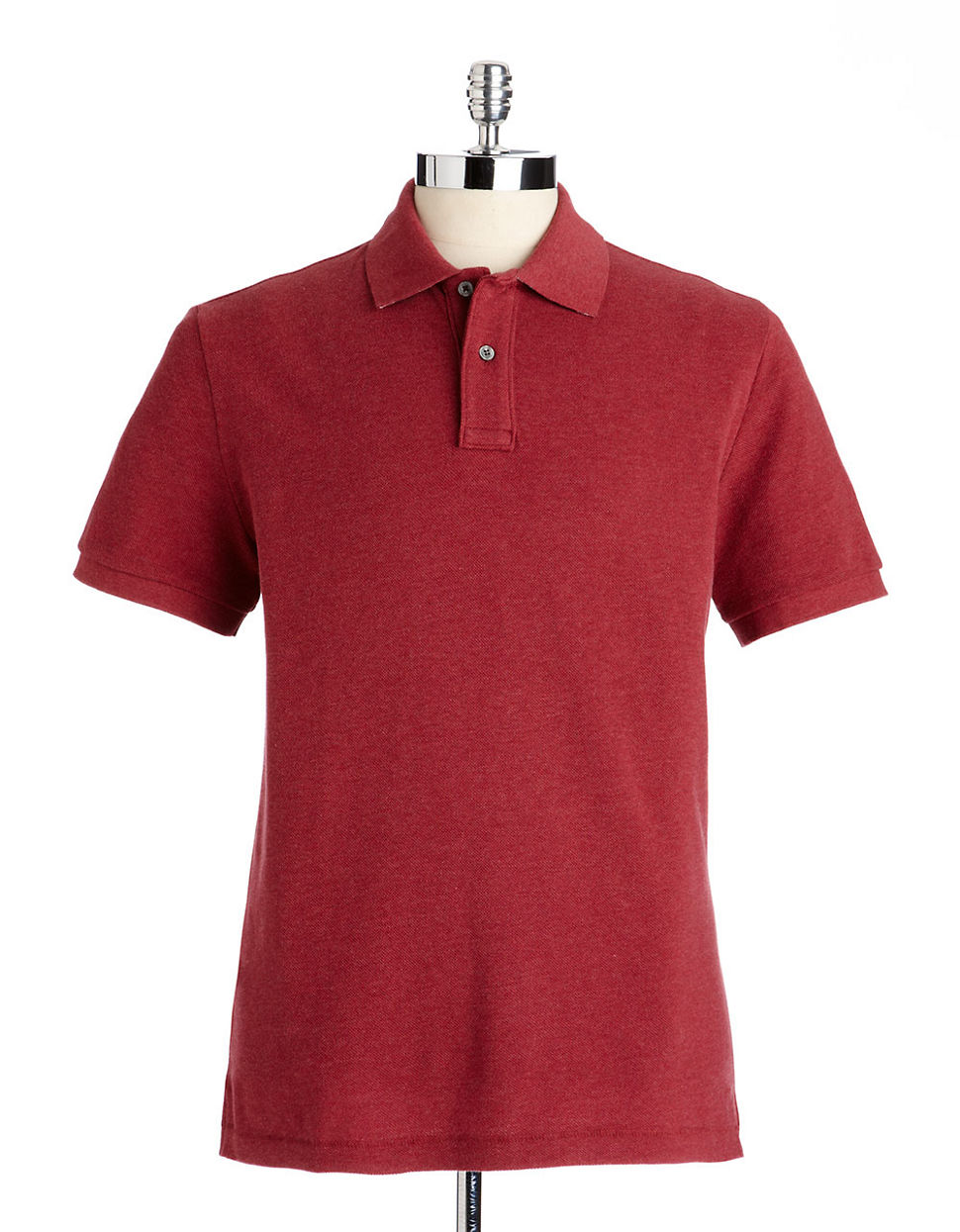Black brown 1826 Classic Fit Cotton Contrast Pique Polo russet heather Large